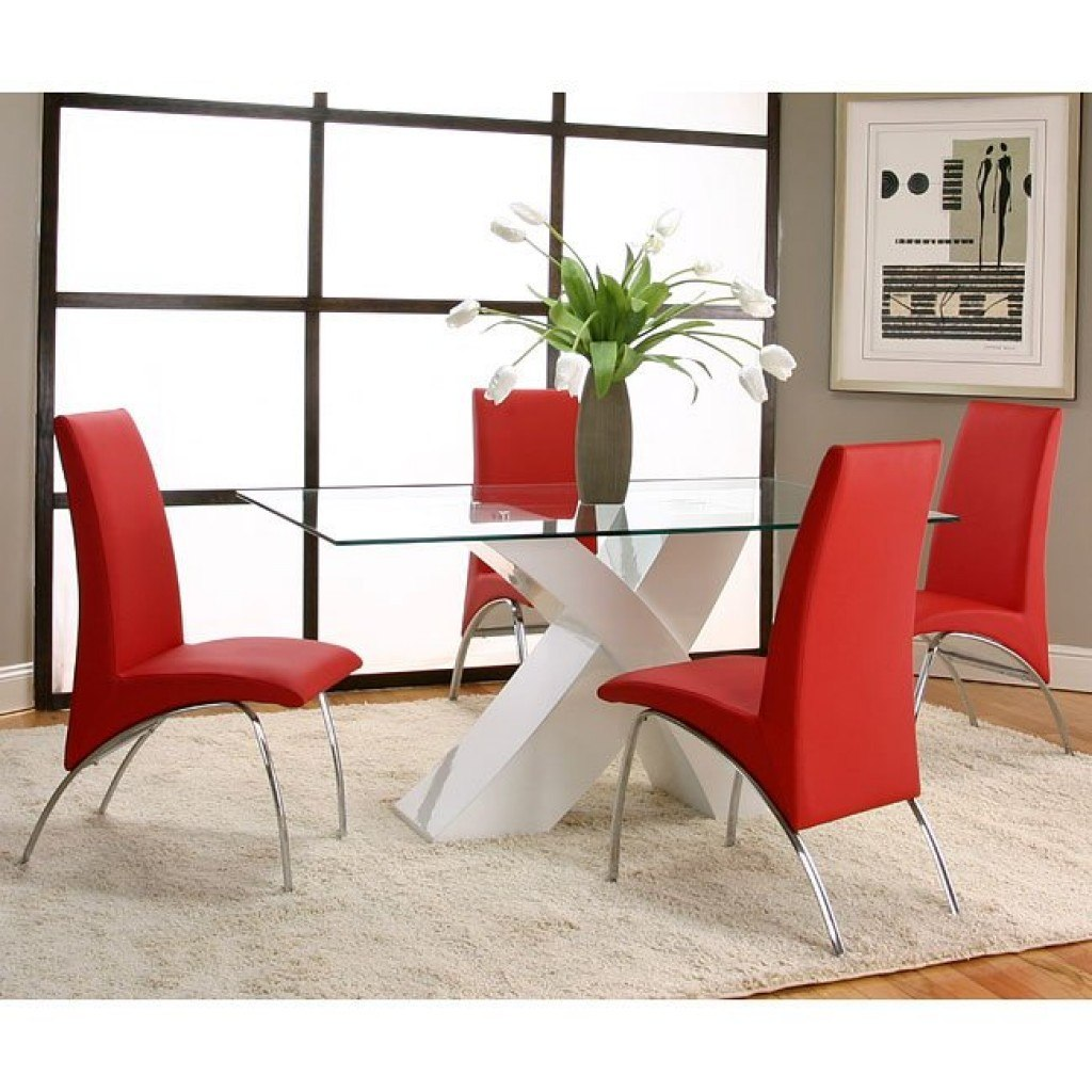 Red Dining Room Furniture: Mensa White Base Dining Room Set With Red Chairs Cramco