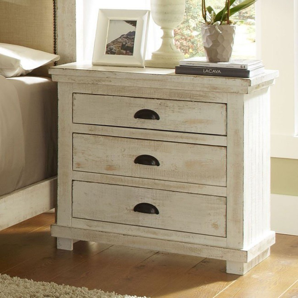 Willow Nightstand Distressed White Progressive Furniture 2 Reviews Furniture Cart