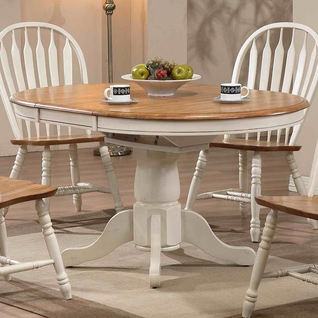 White And Oak Kitchen Diner: Missouri Round Dining Table (Antique White/ Rustic Oak