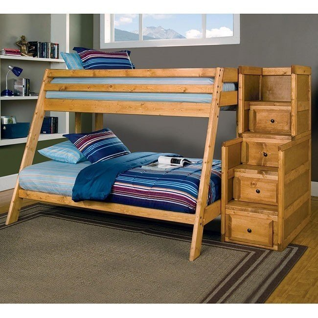 Wrangle Hill Twin/Full Bunk Bed w/ Stairs