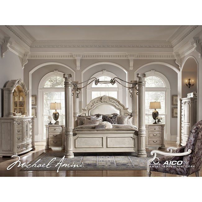 Monte Carlo Ii Canopy Poster Bedroom Set Silver Pearl
