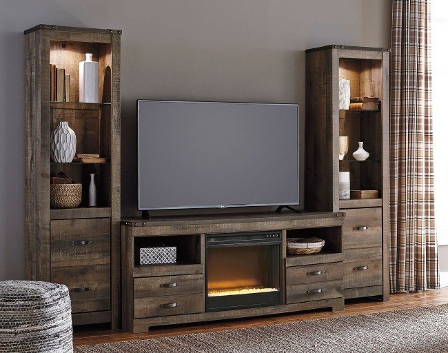 Trinell Entertainment Center w/ Glass and Stone Fireplace