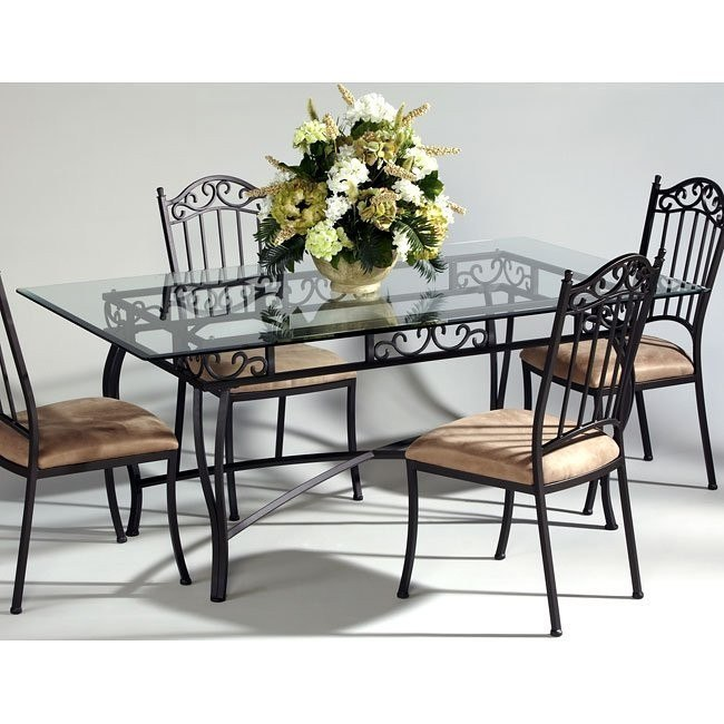 Wrought Iron Rectangular Glass Dining Table Chintaly Imports | Furniture  Cart
