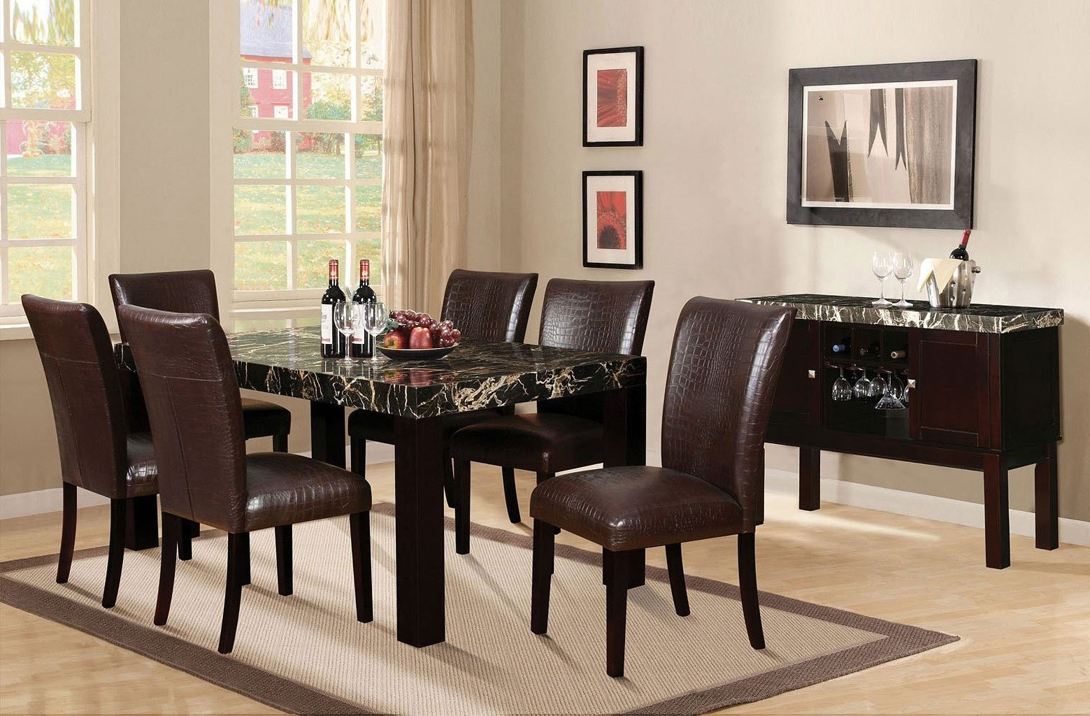 Adolph Rectangular Dining Room Set W/ Fraser Crocodile Chairs Acme Furniture  | Furniture Cart