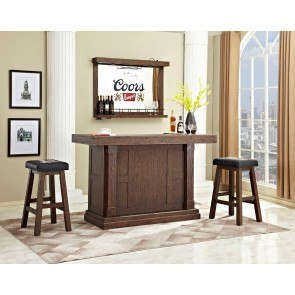 Heavily Distressed 65 Inch Home Bar Set