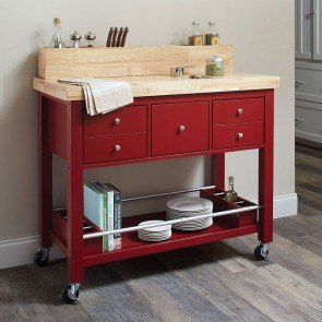 Natural Kitchen Cart (Red)