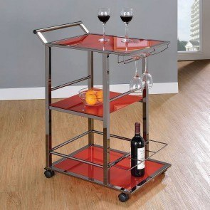 Red Glass Serving Cart