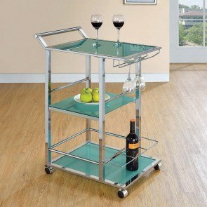 Turquoise Glass Serving Cart