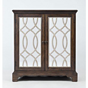 Casa Bella 32 Inch Mirrored Console (Chestnut and Vintage Silver)