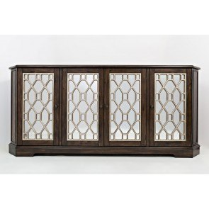 Casa Bella 78 Inch Mirrored Console (Chestnut and Vintage Silver)