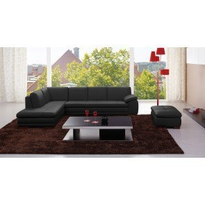 625 Leather Sectional Set (Black)