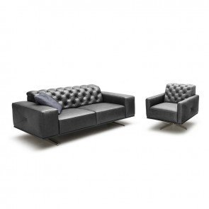 Othello Leather Living Room Set (Black)