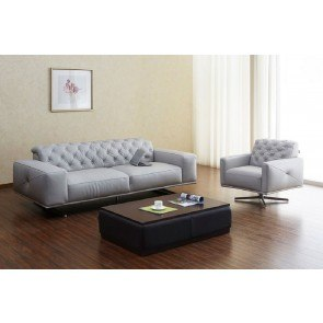 Othello Leather Living Room Set (Light Grey)