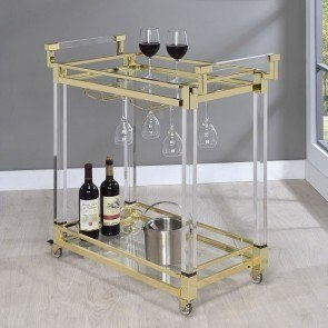Brass and Acrylic Serving Cart