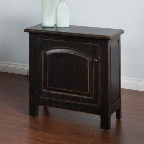Distressed Black Accent End Table