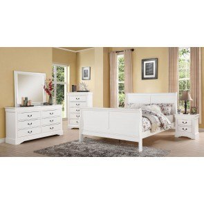 Louis Philippe III Sleigh Bedroom Set (White)