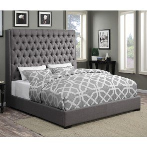 Camille Upholstered Bed (Grey)