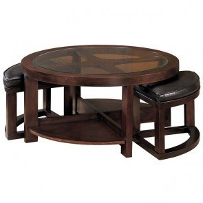Brussel Round Cocktail Table with 2 Ottomans