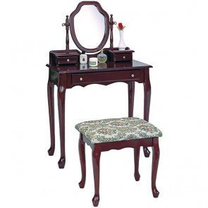 Traditional Vanity Set with Tapestry Fabric