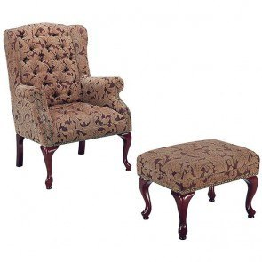 Tufted Wing Back Chair w/ Ottoman (Neutral)