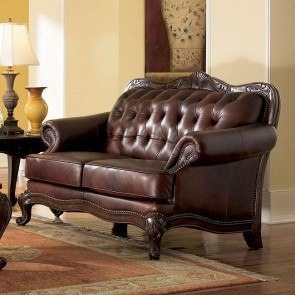 Victoria Rolled Arm Leather Loveseat