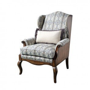 Empyrean Sky Wing Chair (Weathered Nutmeg)