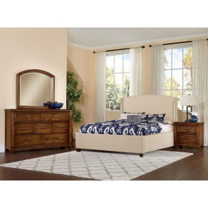 Rustic Cottage Upholstered Bedroom Set (Cherry)