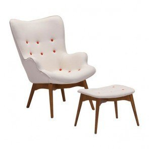 Antwerp Occasional Chair and Ottoman (Cream)