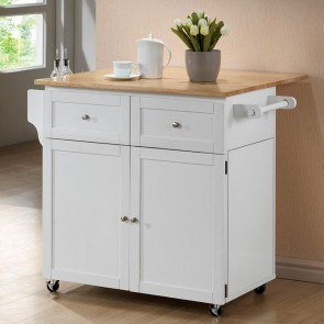 Kitchen Cart w/ Trash Compartment and Spice Rack