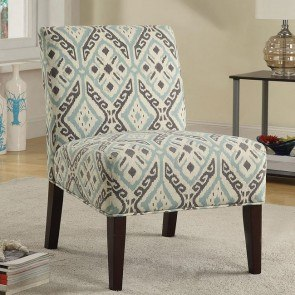 Brown and Teal Accent Chair