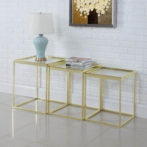 3-Piece Brushed Brass Etagere