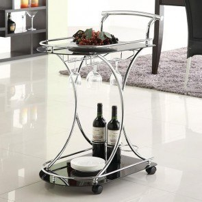 Black and Chrome Serving Cart