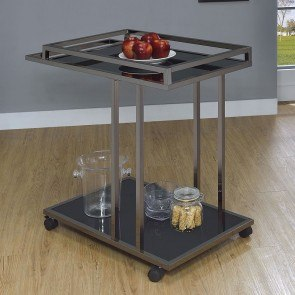 Black Nickel and Glass Serving Cart