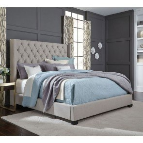 Westerly Upholstered Bed (Light Grey)