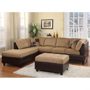 Comfort Living Sectional Living Room Set (Brown)