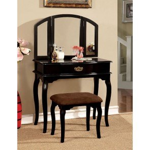 Winnette Vanity w/ Stool (Black)