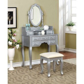 Harriet Vanity w/ Stool (Silver)