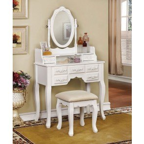 Harriet Vanity w/ Stool (White)