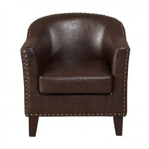 Brown Faux Leather Barrel Accent Chair