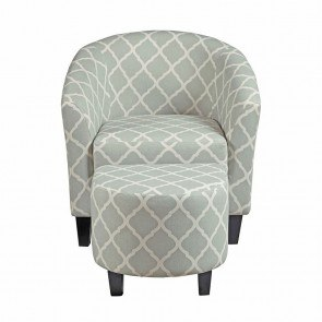 Grey Upholstered Barrel Accent Chair w/ Ottoman
