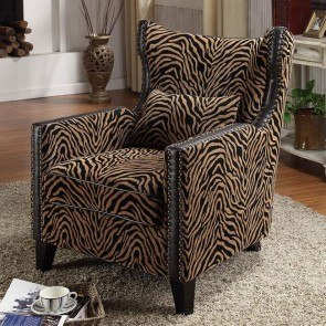 Tiger Chenille Nail Head Accent Chair
