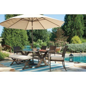 Moresdale Outdoor Dining Set w/ Bench and Umbrella