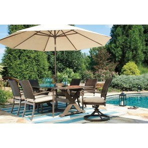 Moresdale Outdoor Dining Set w/ Swivel Chairs and Umbrella