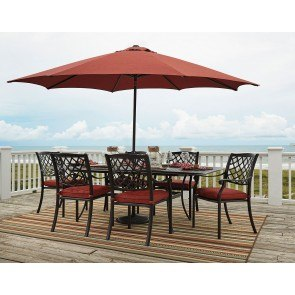 Tanglevale Outdoor Extension Dining Set w/ Umbrella