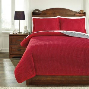 Dansby Red/Gray Youth Coverlet Set