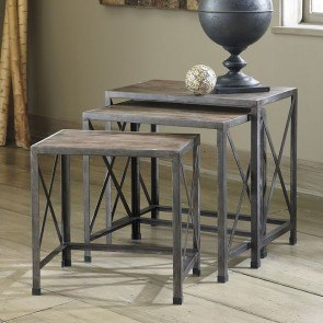Rustic Accents Nesting End Tables (Driftwood)