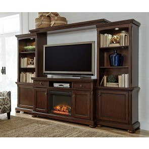 Porter Extra Large Entertainment Wall w/ Fireplace