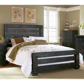 Willow Slat Bed (Distressed Black)